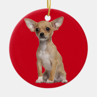 Tan and White Chihuahua Christmas Ornament