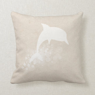 Tan And White Dolphin Throw Pillow