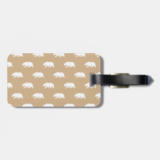 Tan and White Grizzly Bear Pattern Luggage Tag