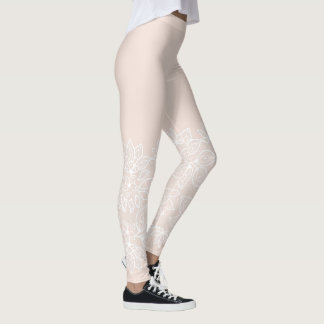 Tan and White Lace Look Leggings