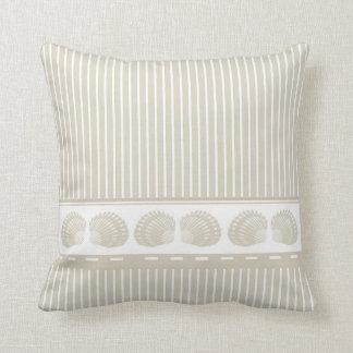 Tan and White Stripes with Seashells Cushion