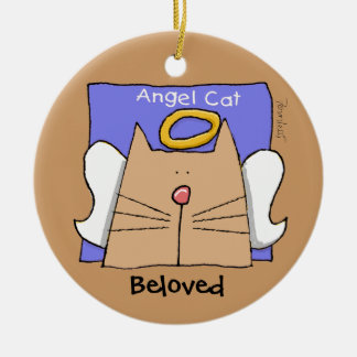 Tan Angel Cat Personalize Christmas Ornament