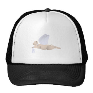 Tan Angel Dog With Blue Wings Cap
