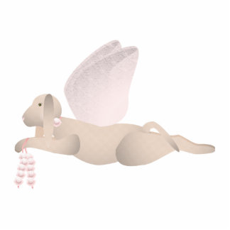 Tan Angel Dog With Pink Wings Photo Cut Out