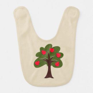 Tan Baby Bib with Apple Tree