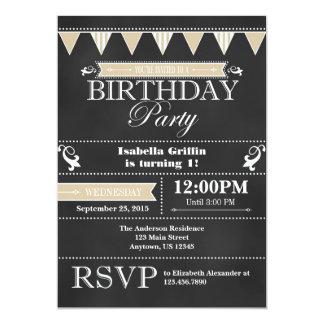 Tan Beige Black Chalkboard Birthday Invitation