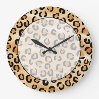 Tan, Black and Brown Leopard Print Pattern. Large Clock