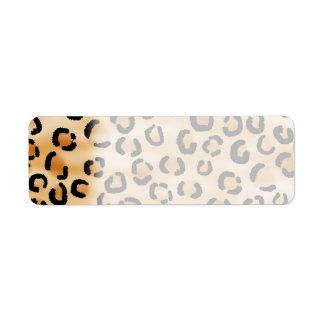 Tan, Black and Brown Leopard Print Pattern. Return Address Label