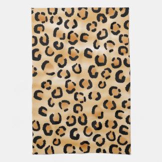 Tan, Black and Brown Leopard Print Pattern. Tea Towel