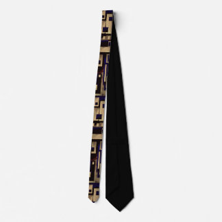 Tan Black Blocks Abstract Man's Tie