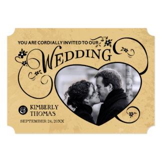 Tan & Black Custom Heart Photo Wedding Invitation