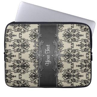 Tan Black Damask Personalized Laptop Sleeve
