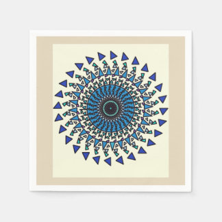 Tan Blue Geometric Star Spiral Design Napkin Paper Napkins
