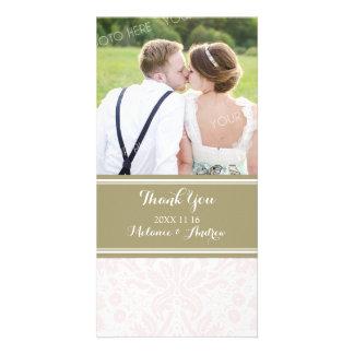 Tan Blush Damask Thank You Wedding Photo Cards