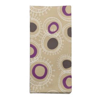 Tan, Brown and Purple Doodled Circles Napkin