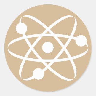 Tan Brown Atom Classic Round Sticker