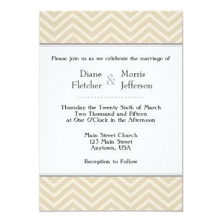 Tan Brown Beige Chevron Wedding Invitations