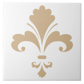 Tan Brown Fleur de lis Large Square Tile