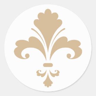 Tan Brown Fleur de lis Stickers