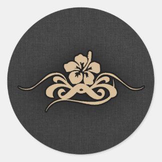 Tan Brown Hibiscus Sticker