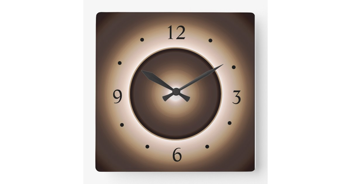 Tan brown illuminated design square wall clock zazzle - Digital illuminated wall clocks ...