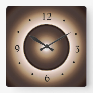 Tan/Brown Illuminated Effect Print Design>Square W Square Wall Clock