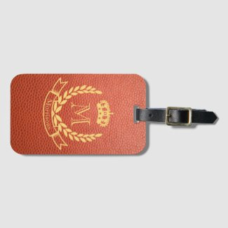 Tan Brown Mock Leather with Monogram Crest