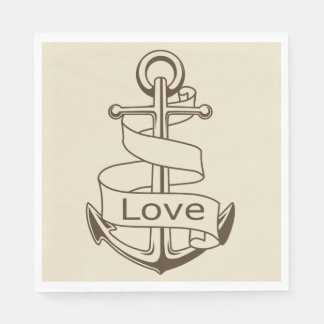 Tan Brown Nautical Ship Anchor Ocean Sailor Love Paper Napkin
