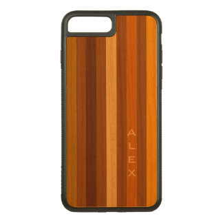 Tan Brown Orange Vertical Stripes Monogram Carved iPhone 8 Plus/7 Plus Case