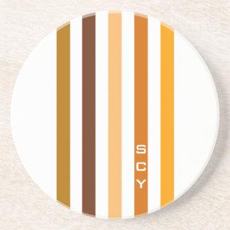 Tan Brown Orange Vertical Stripes Monogram Coaster