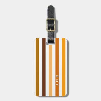 Tan Brown Orange Vertical Stripes Monogram Luggage Tag