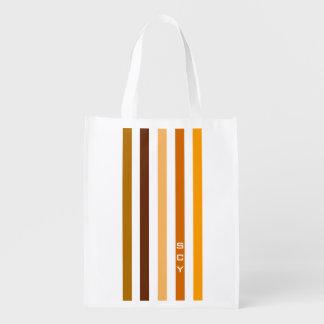 Tan Brown Orange Vertical Stripes Monogram Reusable Grocery Bag