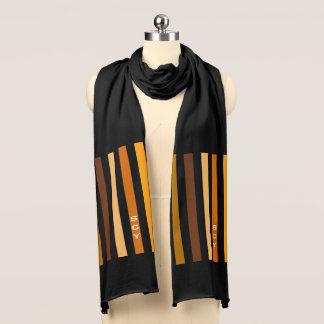Tan Brown Orange Vertical Stripes Monogram Scarf