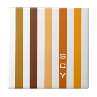 Tan Brown Orange Vertical Stripes Monogram Tile