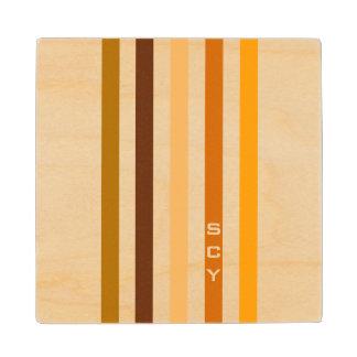 Tan Brown Orange Vertical Stripes Monogram Wood Coaster