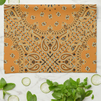 Tan Brown Paisley Western Bandana Scarf Print Tea Towel