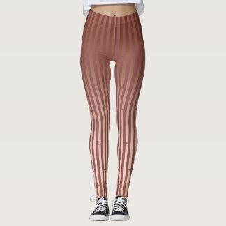 Tan & Brown Segmented Stripe Leggings