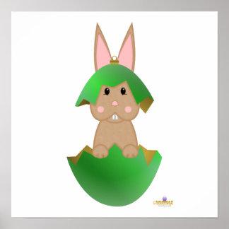 Tan Bunny Green Christmas Ornament Poster