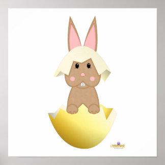 Tan Bunny Yellow Easter Egg Print