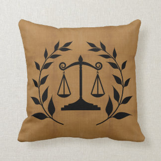 Tan Burlap Print - Silhouette Scales of Justice Cushion