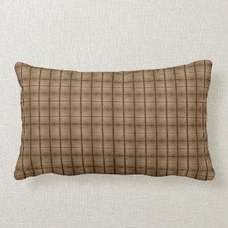 Tan Checkered Motif accent Lumbar Cushion