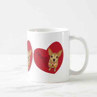 Tan Chihuahua with a bow tie in a red heart Basic White Mug