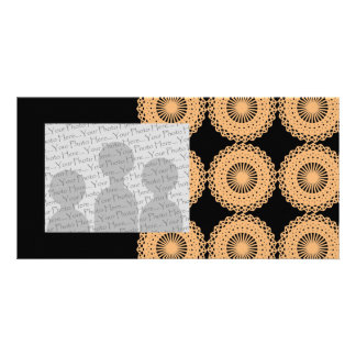 Tan Color Lace Pattern Personalized Photo Card