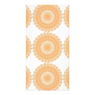 Tan Color Lace Pattern Photo Card