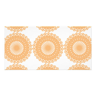 Tan Color Lace Pattern. Photo Cards