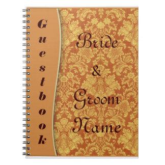 Tan Damask Wedding or Shower Guestbook Notebook