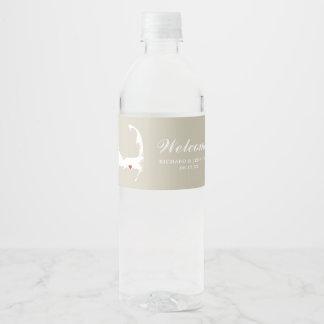 Tan Dennis Port Cape Cod Map w/red heart Wedding Water Bottle Label