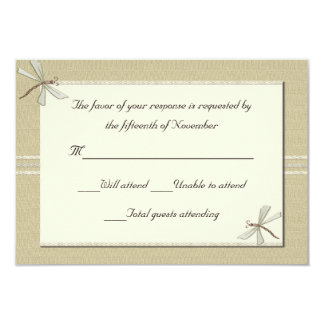 Tan dragonflies Wedding Response Card 9 Cm X 13 Cm Invitation Card