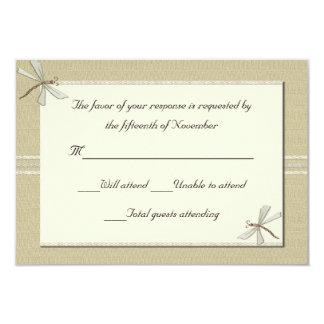 "Tan dragonflies Wedding Response Card 3.5"" X 5"" Invitation Card"
