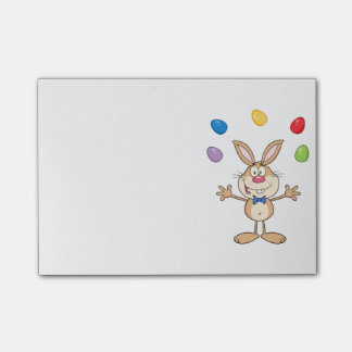 Tan Easter Bunny Juggling Eggs Post-it Notes